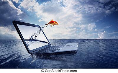 guldfisk, hop, ydre, i, den, dataskærm, hos, havet