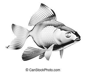 guldfisk, isolerat, chromium-plated
