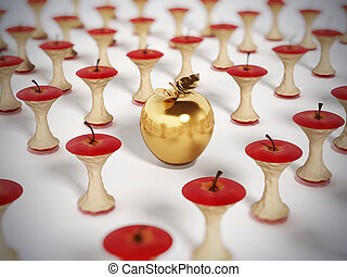 guldgul äpple, stå, bland, ätit, äpple, cores., 3, illustration