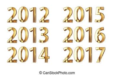 guldgul år, isolerat, på, svart, med, snabb bana