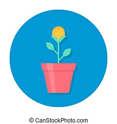 guldmynt, blomster kruka, ikon