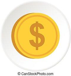 guldmynt, med, dollar endossera, ikon, cirkel