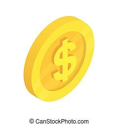 guldmynt, med, dollar endossera, ikon