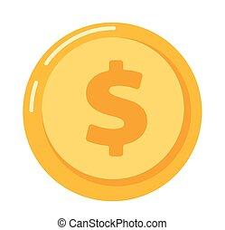 guldmynt, med, dollar endossera, vektor, illustration.