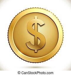 guldmynt, med, dollar endossera, vita, bakgrund.