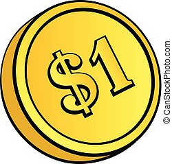 guldmynt, med, dollar, skylt.