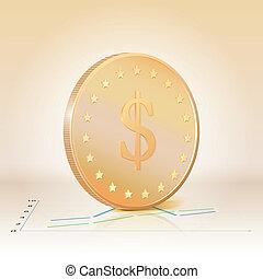 guldmynt, med, dollar, skylt., vektor, illustration