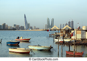 Gulf and boats - Gulf with boats in Manama city, Bahrein