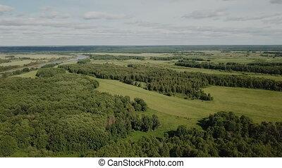 gulf meadows in the floodplain of the Oka River, Russia