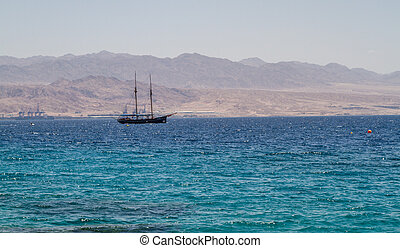 Gulf of Aqaba, Red Sea, Israel - Excursion ship in the gulf...