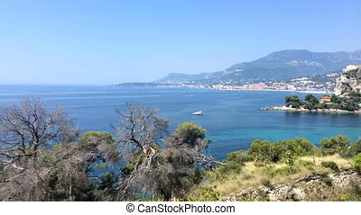 Gulf of Balzi Rossi in Ventimiglia in Italian Riviera with...