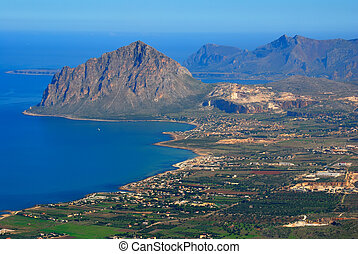 Gulf of Bonagia (mount Cofanor) view from Erice, Sicily -...
