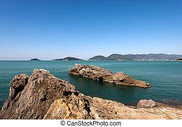 Gulf of La Spezia - Liguria Italy - Panorama of the Gulf of...