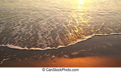 Gulf of Mexico Beach Sand Sunrise Surf Rising Falling -...