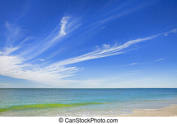 Floridian seascape, feathered clouds. high resolution