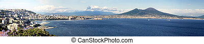 Gulf of Naples - Panoramic view of the gulf of Naples with...