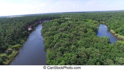 Gulf of small river in the woods to the beach