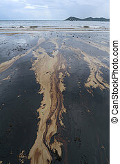 Gulf oil spill is shown on a beach - Gulf oil spill is shown...
