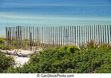Gulf Shore Dunes - Fence on Top of Sand Dunes overlooking...
