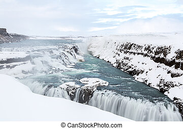 Gulfoss Waterfall Iceland Winter