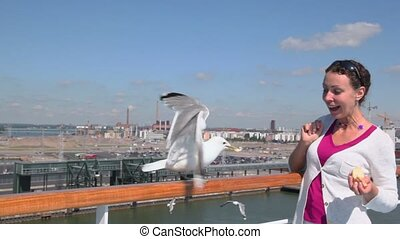Gull sits on handrail and woman feeds it at summer day in port