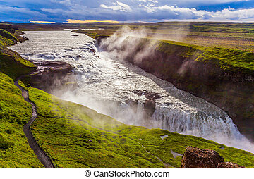Gullfoss - Golden Waterfall in Iceland. Falls on the Hvitau...