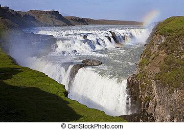 gullfoss, island, över, vattenfall, regnbåge