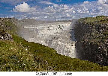 gullfoss, stor, vattenfall, -, island