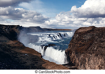 Gullfoss The Great Watefall, Iceland - VIew of Gullfoss,...