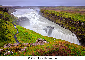 Gullfoss - the most famous waterfall in Iceland, a part of...