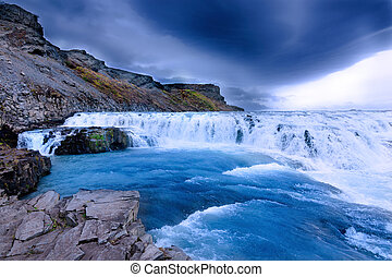 Gullfoss Waterfal Icelandic scenery - Beautiful scenery of...