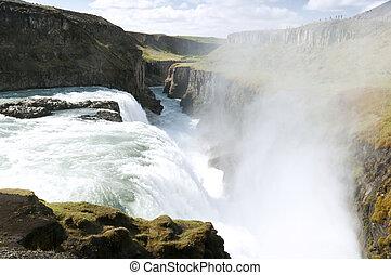 Gullfoss waterfall , Iceland