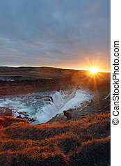 Gullfoss waterfall iceland - Gullfoss waterfall at sunset in...