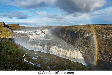 Gullfoss Waterfall, Iceland - The Gullfoss waterfall in the...