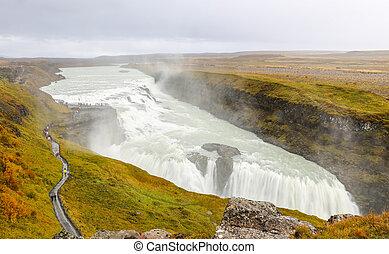 Gullfoss Waterfall in Iceland - Gullfoss Waterfall over...
