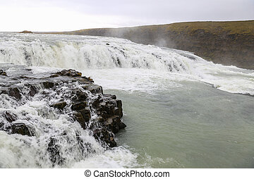 Gullfoss Waterfall in Iceland - Gullfoss Waterfall over...