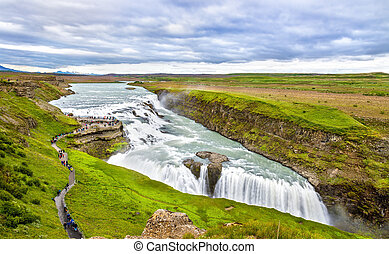 Gullfoss Waterfall in the canyon of Hvita river - Iceland