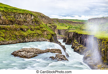 Gullfoss Waterfall in the canyon of Hvita river - Iceland -...