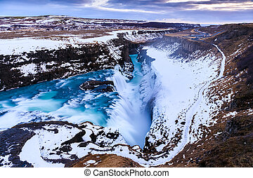 Gullfoss waterfall in Winter (bird's eye view), Iceland