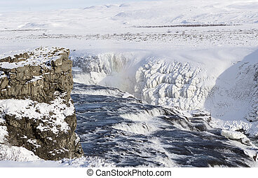 gullfoss waterfall in winter - ice and snow in iceland...