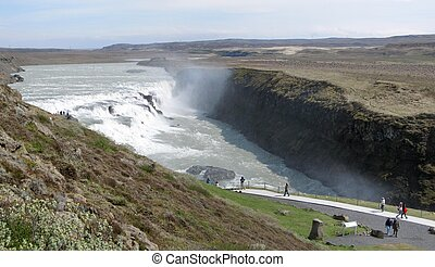 Gullfoss waterfall is a natural landmark of Iceland.