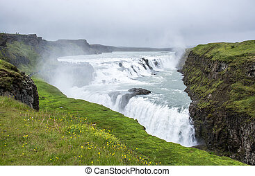 Gullfoss waterfall located in the canyon of Hvita river, Iceland