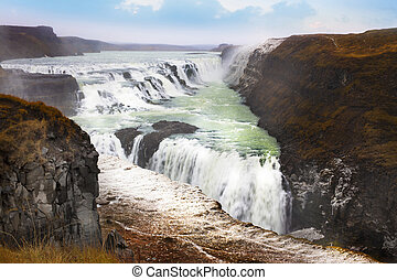 Gullfoss waterfall the most popular tourist attractions in Iceland.