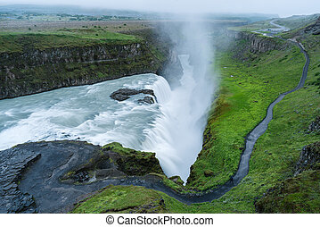 Gullfoss Waterfall, tourist attraction of Iceland - Gullfoss...