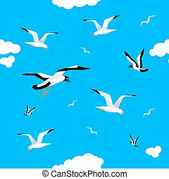 Gulls and clouds in the blue sky. Seamless.