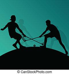 gulv, bold, spillere, aktiv, sport, silhuetter, vektor,...