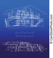 gulv, hus, stylized, vektor, plan., model