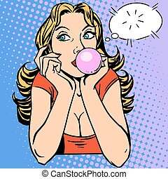 Gum girl bubble sweets retro style pop art