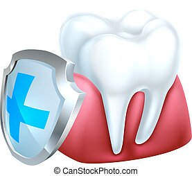 Gum Tooth and Shield Icon - A conceptual medical dental...