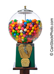 Gumball Machine - An antique gum ball machine isolated on ...
